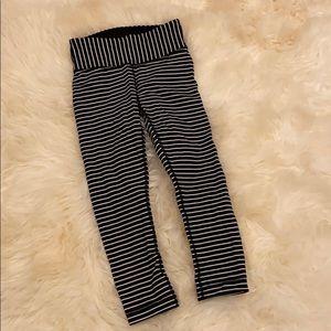 Black and white striped lulu pants